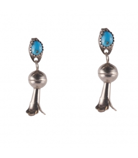 Boucles d' oreilles Navajos, Argent et Turquoise, pour femme et enfant