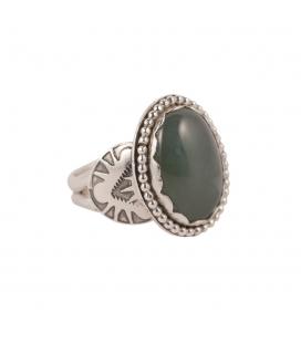 Bague Banditas Bijoux Créations, Jade ovale montée sur Argent 925,pour femme