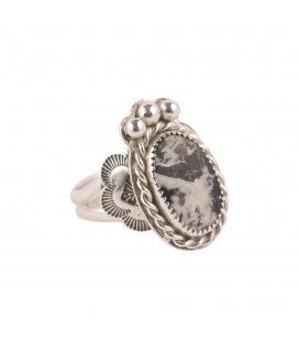 Banditas Creations Cuff, Stamped Silver and White Buffalo Turquoise, for women
