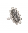 SL Bijoux Creations ring, Stamped Silver and White Buffalo Turquoise, for women
