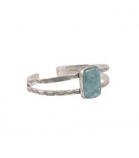 """Bracelet """" 2 barres"""" Banditas Bijoux Créations, Turquoise d'Arizona rectangle montée sur Argent 925 ,pour femme"""