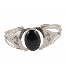 BERBER CUFF, WORKED SILVER AND ONYX, FOR WOMEN AND MEN