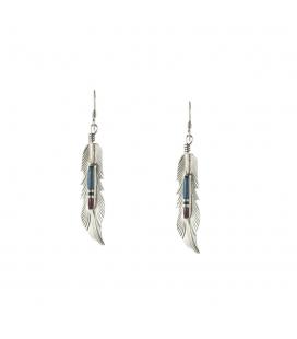 Longues boucles d'oreilles Zunis, Plume Argent et pierres, origine Amérindien Navajo, femme