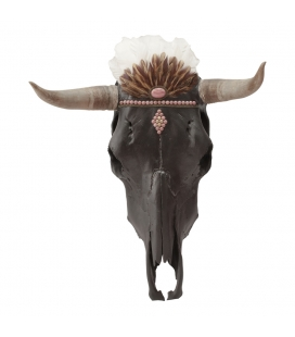 REAL COW SKULL WITH TURQUOISES AND BRONZE, SL Bijoux CREATION