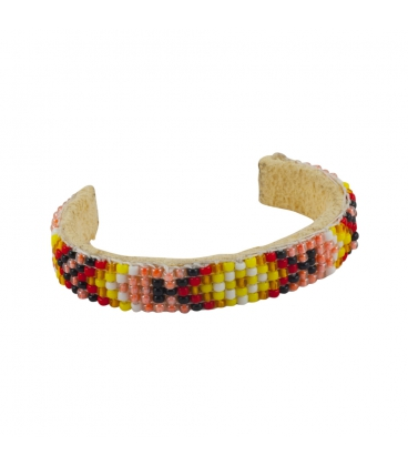 NATIVE AMERICAN NAVAJO CUFF IN EMBROIDERED BEADS by Artist Jacqueline Cleveland