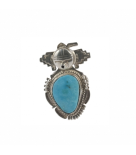 NAVAJO TOTEM RING, SILVER AND GREEN TURQUOISE, ARTIST BENNIE RATION, FOR WOMEN AND MEN