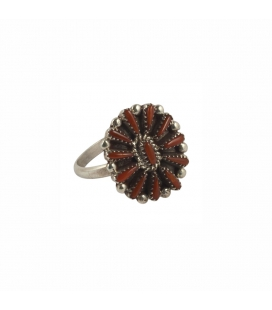 """Zuni"" NeedlePoint Ring, Silver and Coral, for woman"