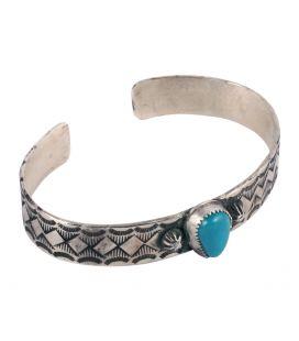 """Bracelet """"pyamides"""" Banditas Créations, en Argent estampé et """"Pilot Mountain"""" Turquoise, fait main, pour femme"""