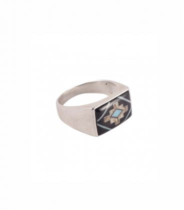"""Silver and Stones Signet Ring,, Native American """"Zuni"""", men or women"""