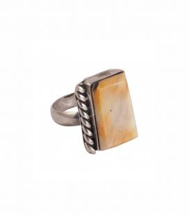 Native American Navajo rectangle, Ring, Spiney Oyster and Silver 925, for women