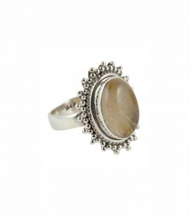 INDIAN RING, SILVER 925 AND QUARTZ RUTILE, FOR WOMEN