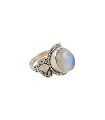INDIAN RING, SILVER 925 AND WHITE LABRADORITE, FOR WOMEN