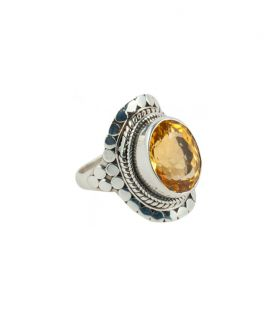 INDIAN RING, SILVER 925 AND CITRINE, FOR WOMEN