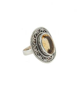 INDIAN RING, SILVER 925 AND FACETED CITRINE, FOR WOMEN