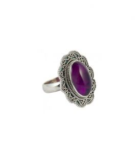 INDIAN RING, SILVER 925 AND AMETHYST, FOR WOMEN
