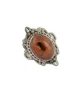 SILVER AND MEXICAN OPAL RING, INDIAN COLLECTION, FOR WOMEN