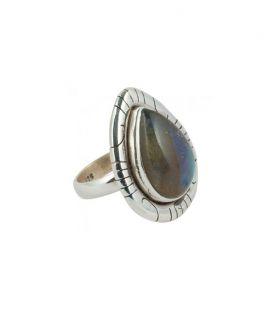 INDIAN RING, SILVER 925 AND DROP LABRADORITE, FOR WOMEN