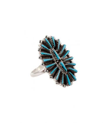 """LITTLE ZUNI OVAL """"NEEDLE POINT"""" RING BY S.LAHI, SILVER AND """"SLEEPING BEAUTY"""" TURQUOISE, FOR WOMEN AND CHILDREN"""