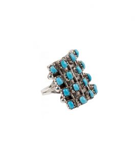 Big Native American Zuni rectangle ring, by L.Bucson, Sleeping Beauty Turquoise on Silver 925