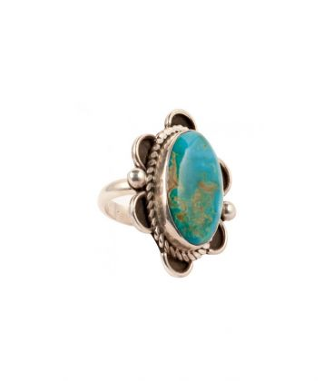 """BIG NATIVE AMERICAN PUEBLO RING, BY D.CORIZ, SILVER AND """"Kingman"""" TURQUOISE, FOR WOMEN AND MEN"""