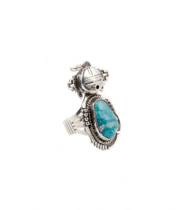 NAVAJO TOTEM RING, SILVER AND TURQUOISE, ARTIST BENNIE RATION, FOR WOMEN AND MEN