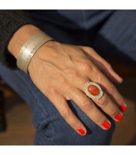 """Bague """"Corail"""" Banditas Bijoux créations, Corail et Argent travaillé, pour femme"""