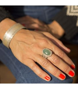 Banditas creations ring, Jade on stamped Silver, women and men