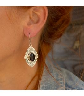 Tuaregs Earrings, Embroidered Silver and Onyx, women and girls