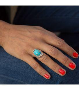 """Bague en Argent travaillé et Turquoise """"Blue Mohave"""", Collection Inde, pour Homme et femme"""