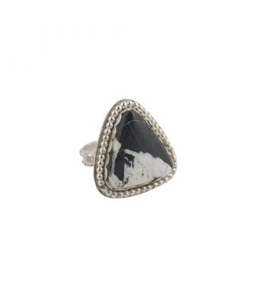 Banditas Creations Ring, Stamped Silver and White Buffalo Turquoise, for women