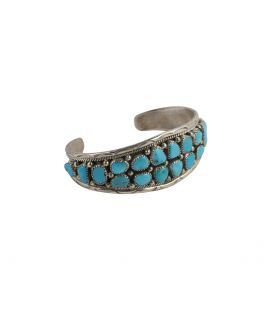 BIG NAVAJO BRACELET, SILVER AND 28 TURQUOISE, MAN OR WOMAN