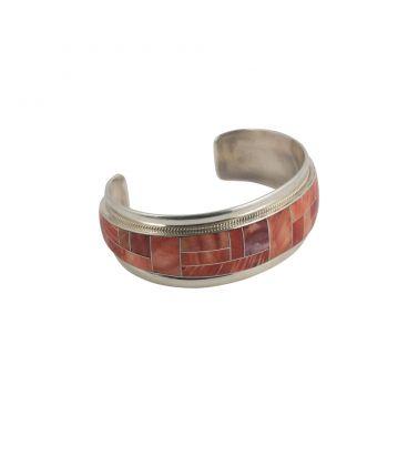 Bracelet Amérindien Zuni, pour femme, Argent et marqueterie d'Opale