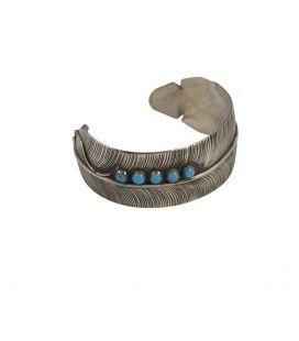 """Bracelet Navajo """"Plume"""" en Argent et Turquoise par D.BEGAY, pour homme et femme"""