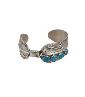 """Large Bracelet Navajo """"Plume"""", en Argent et Turquoises, par Vivian Jones, pour homme et femme"""