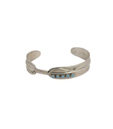 """Bracelet Navajo """"Plume"""" en Argent et Turquoise par Vivian Jones, pour homme et femme"""