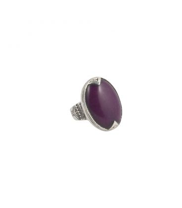 TUAREG WOMEN RING, SILVER AND AGATE