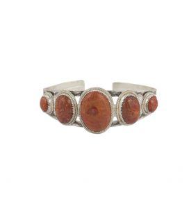 """Bracelet """" 2 barres"""" SL bijoux Créations, 5 """"Corails """" éponge montés sur Argent 925, pour homme et femme"""