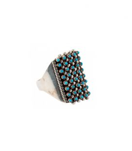 "Grosse Bague Zuni ""Needle Point"", Sleeping Beauty Turquoises sur Argent 925"