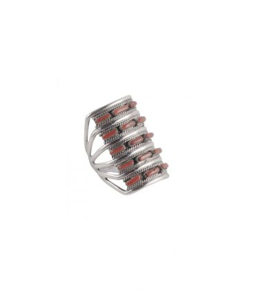 """""""Zuni"""" Needle Point Ring by Shirley Quam, Silver and Coral, for woman"""