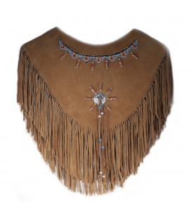 INDIAN PONCHO, SUEDE, FRINGES AND EMBROIDERED BEADS, WOMAN