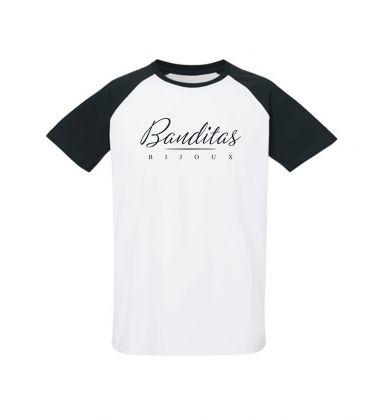T-shirt Banditas Bijoux à manches courtes raglan contrastées, en Jersey 100% coton biologique peigné ring-spun 155 GSM