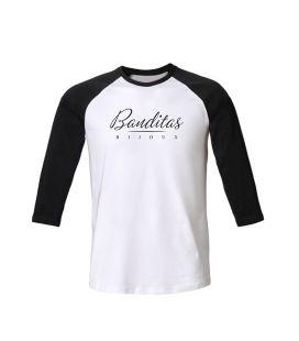 T-shirt Banditas Bijoux à manches raglan 3/4 contrastées, en Jersey 100% coton biologique peigné ring-spun 155 GSM