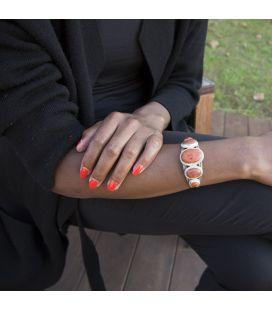 """Bracelet """" 2 barres"""" Banditas Bijoux Créations, 5 """"Corails """" éponge montés sur Argent 925, pour homme et femme"""