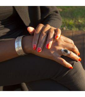 BAGUE TOUAREG EN ARGENT GRAVE ET ONYX, COLLECTION AFRIQUE, POUR HOMME OU FEMME