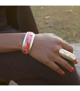 """Manchette Zuni en Argent 925 et marqueterie de """"Spiney Oyster"""" rouge, pièce unique par D.BOOQUA, pour homme et femme"""