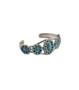 """Bracelet Navajo """"Fleur"""" en Argent et Turquoises, pièce unique par D.BOOQUA, pour femme"""