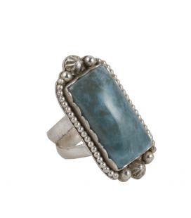 Grosse bague Larimar, création originale SL bijoux en Argent 925, fait main, pour femme