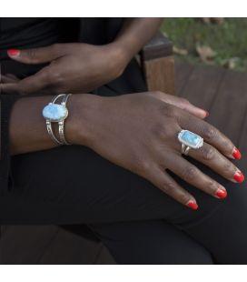 Bracelet Larimar Banditas Créations en Argent et Larimar ovale, fait main, pour femme