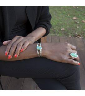 """Bracelet """" 2 barres"""" Banditas Bijoux Créations, Turquoise goutte montée sur Argent 925 ,pour femme"""