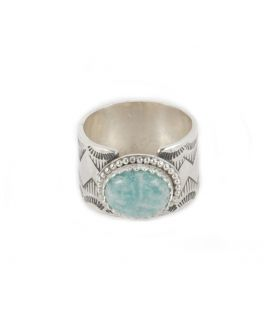 Women Ring, Banditas creations, Abalone Shell on stamped Silver, handmade work